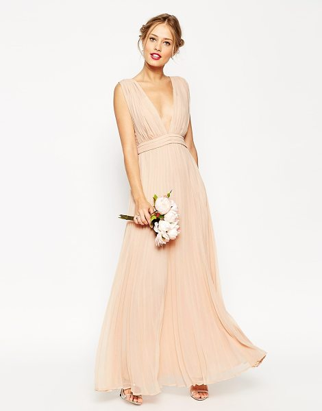 Asos WEDDING Deep Plunge Super Full Pleated Maxi Dress in pink - Evening dress by ASOS Collection, Lightweight lined...