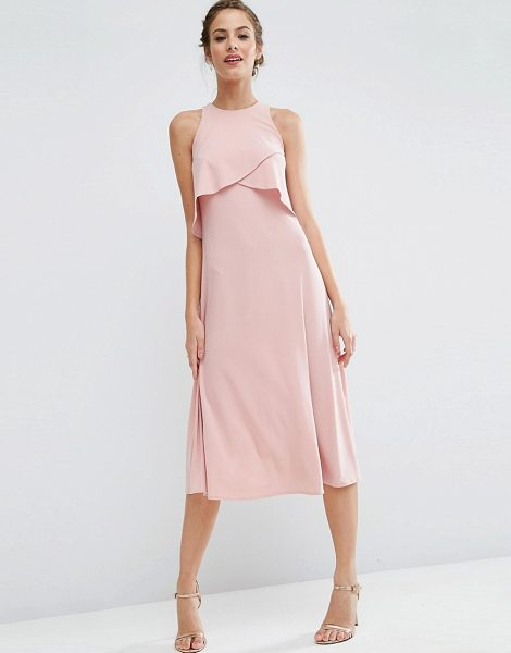 "Asos WEDDING Double Layer Midi Dress in pink - """"Midi dress by ASOS Collection, Smooth stretch fabric,..."