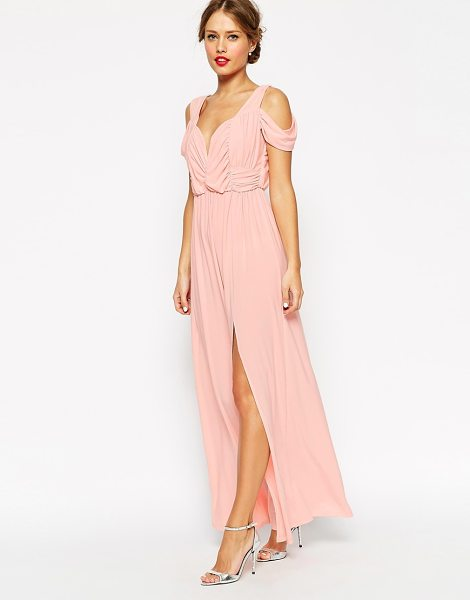 ASOS Wedding drape cold shoulder maxi dress - Maxi dress by ASOS Collection Mid-weight stretch fabric...