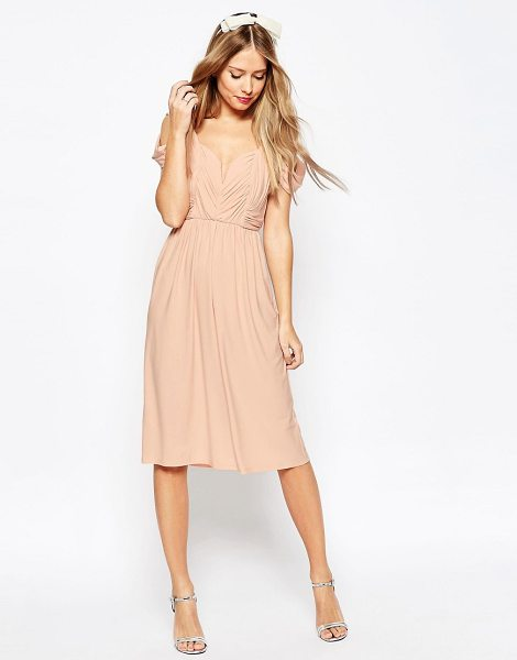 "Asos WEDDING Drape Cold Shoulder Midi Dress in pink - """"Midi dress by ASOS Collection, Soft-touch slinky..."