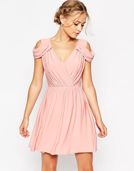 Asos Wedding drape cold shoulder mini dress in dusty pink - Evening dress by ASOS Collection Mid-weight thick...
