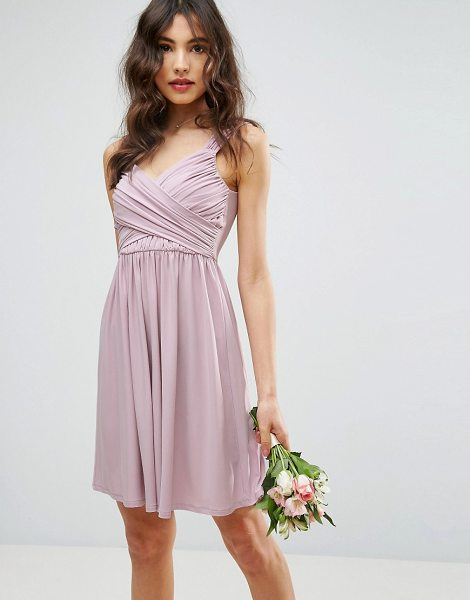 "ASOS DESIGN bridesmaid drape front mini dress in nude - """"Dress by ASOS Collection, Smooth lined fabric, V-neck,..."
