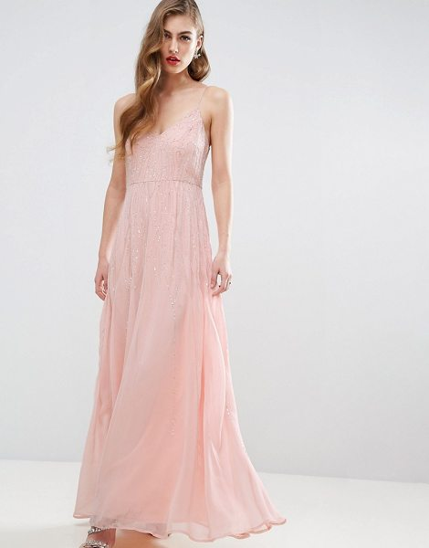 "ASOS DESIGN Bridesmaid embellished cami strappy midi dress in nude - """"Maxi dress by ASOS Collection, Mid-weight chiffon,..."