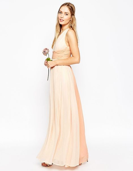 "Asos WEDDING Hollywood Contrast Maxi Dress in pink - """"Maxi dress by ASOS Collection, Mid-weight chiffon,..."