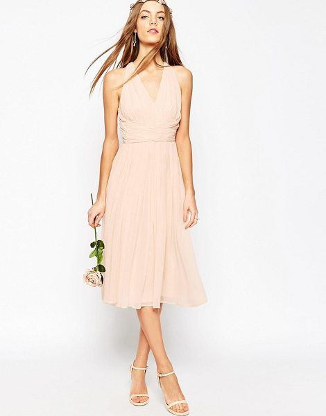 "Asos DESIGN Bridesmaid hollywood midi dress in pink - """"Midi dress by ASOS Collection, Midweight lined..."