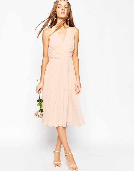"ASOS DESIGN bridesmaid hollywood midi dress in softpink - """"Midi dress by ASOS Collection, Mid-weight chiffon,..."
