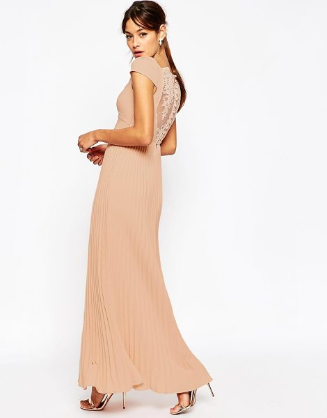 Asos WEDDING Lace Back Pleated Maxi Dress in beige - Maxi dress by ASOS Collection, Lined chiffon, Sweetheart...