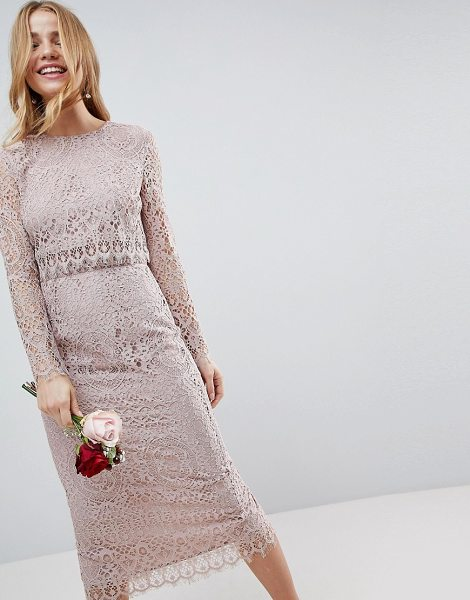 ASOS DESIGN lace long sleeve midi pencil dress in mink - Midi dress by ASOS Collection, Be the best dressed...