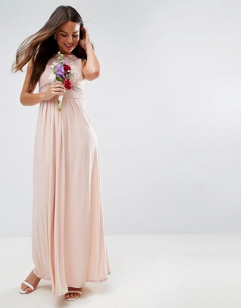 """ASOS DESIGN lace top pleated maxi dress in nude - """"""""Dress by ASOS Collection, Soft-touch woven fabric,..."""