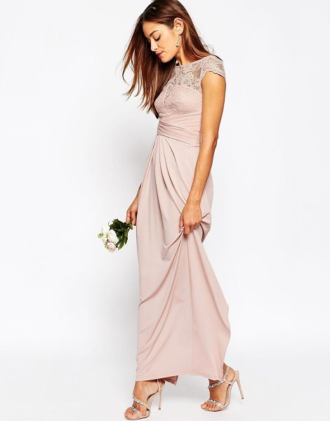 Asos WEDDING Lace Top Pleated Maxi Dress in pink - Maxi dress by ASOS Collection, Lightweight smooth...