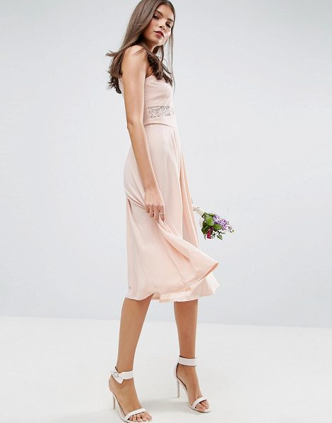 "ASOS DESIGN bridesmaid lace top pleated midi dress in nude - """"Midi dress by ASOS Collection, Soft-touch woven..."