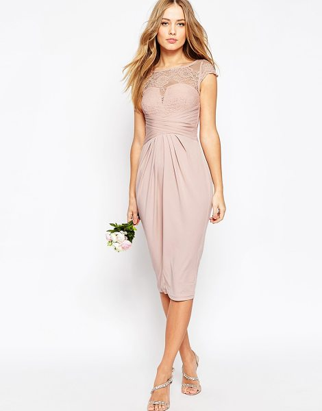 """ASOS WEDDING Lace Top Pleated Midi Dress - """"""""Midi dress by ASOS Collection, Soft-touch slinky..."""