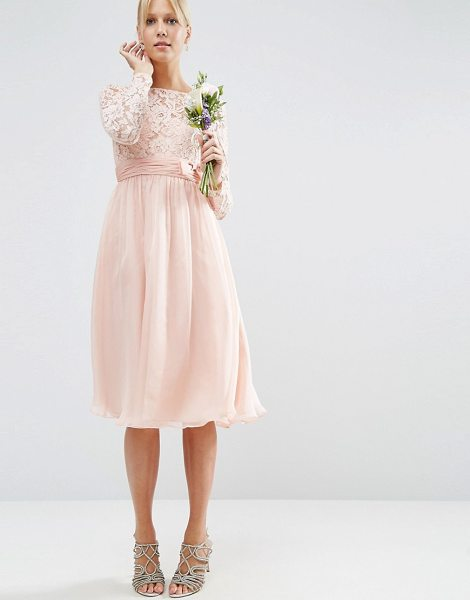 "ASOS DESIGN Bridesmaid midi dress with lace and bow detail - """"Midi dress by ASOS Collection, Lined woven fabric,..."