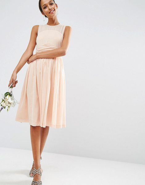 ASOS DESIGN bridesmaid midi dress with ruched panel detail in blush - Midi dress by ASOS Collection, Lightweight woven fabric,...
