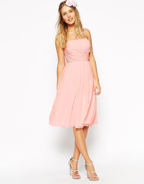 Asos WEDDING Midi Dress With Ruched Wrap Front in pink - Dress by ASOS Collection, Lightweight super-fine...