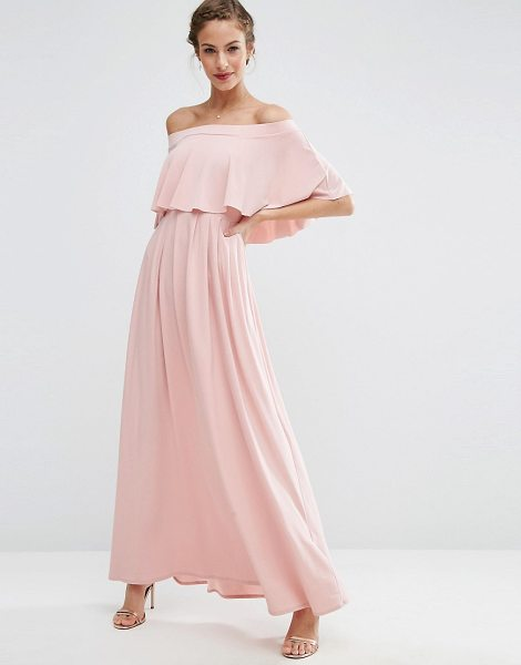 Asos WEDDING Off Shoulder Frill Maxi Dress in pink - Maxi dress by ASOS Collection, Stretch fabric, Bandeau...