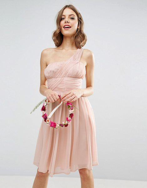 "ASOS DESIGN bridesmaid one shoulder dress in pink - """"Dress by ASOS Collection, Smooth woven fabric,..."