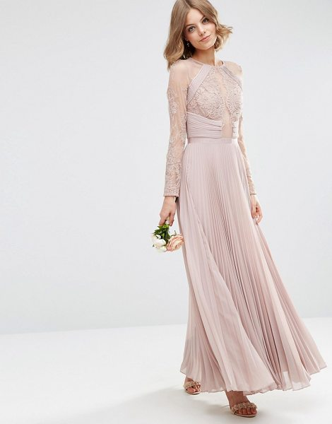 "Asos wedding pretty lace eyelash pleated maxi dress in mink - """"Maxi dress by ASOS Collection, Sheer mesh, Partial..."
