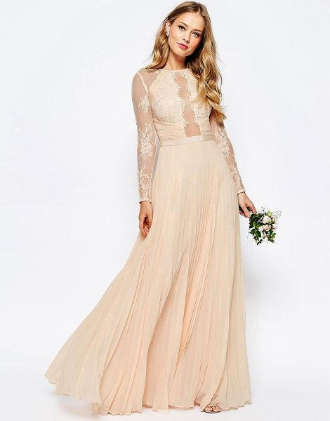 ASOS WEDDING Pretty Lace Eyelash Pleated Maxi Dress in pink - Maxi dress by ASOS Collection, Lined chiffon, Lace yoke...