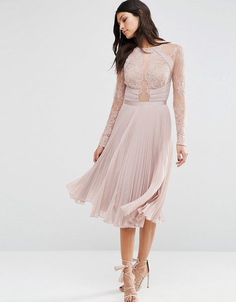 ASOS WEDDING Pretty Lace Eyelash Pleated Midi Dress in beige - Midi dress by ASOS Collection, Woven fabric, Sheer mesh...