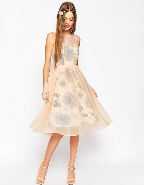 Asos WEDDING Printed and Sheer Layer Prom Dress in pink - Dress by ASOS Collection, Lightweight crinkled chiffon,...
