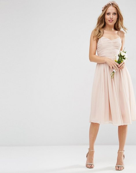 "Asos Bridesmaid ruched midi dress in pink - """"Midi dress by ASOS Wedding, Layered mesh, Lined..."