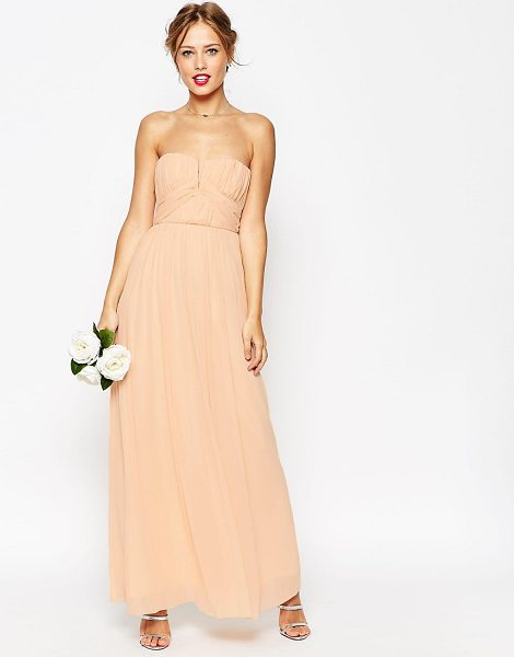 "ASOS DESIGN Bridesmaid ruched bodice bandeau maxi dress - """"Dress by ASOS Collection, Layered chiffon, Bandeau..."