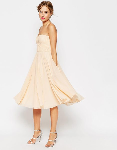 Asos WEDDING Ruched Bodice Bandeau Midi Dress in pink - Dress by ASOS Collection, Lined chiffon, Bandeau...