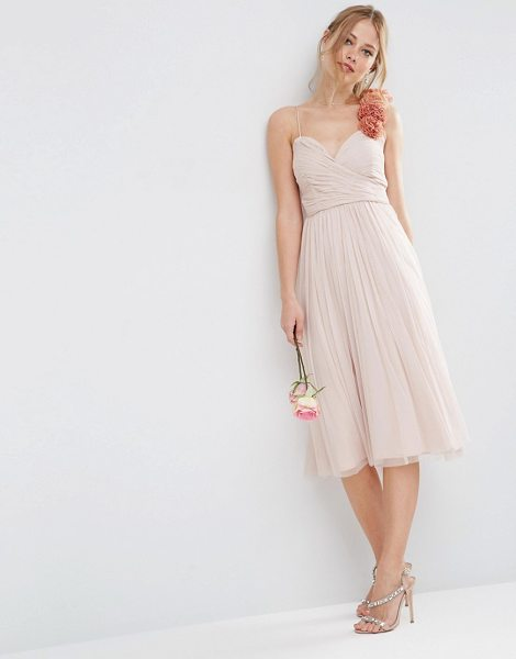 "Asos Bridesmaid ruched midi dress with corsage strap in nude - """"Midi dress by ASOS Collection, Layered mesh,..."