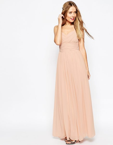 """ASOS DESIGN bridesmaid ruched panel maxi dress in nude - """"""""Maxi dress by ASOS Collection, Lined chiffon,..."""