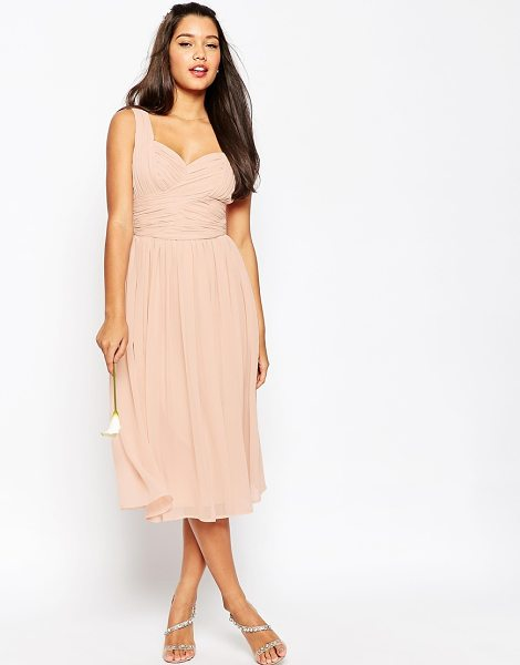 ASOS DESIGN ruched panel midi dress in nude