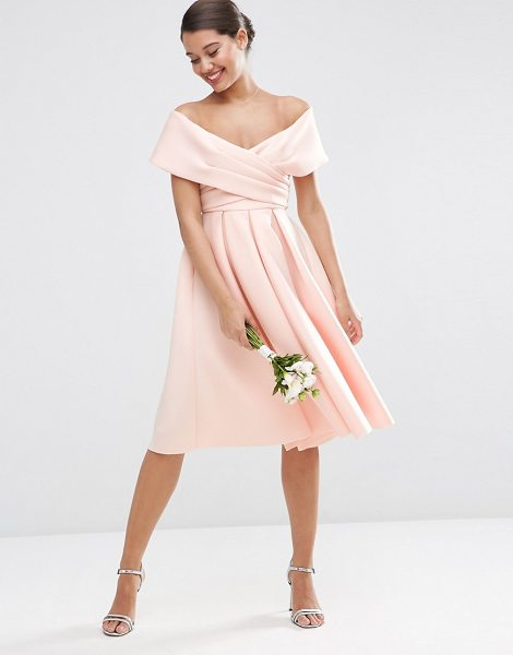 Asos WEDDING Scuba Off The Shoulder Midi Prom Dress in pink - Midi dress by ASOS Collection, Soft-touch scuba-style...