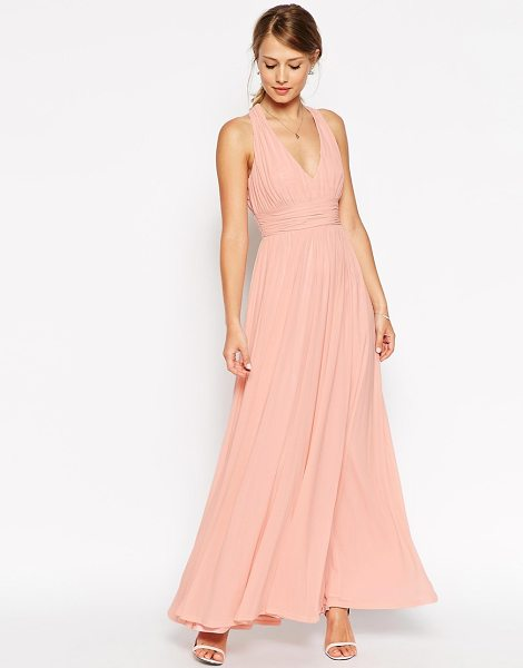 Asos Wedding v neck twist back maxi dress in nude - Dress by ASOS Collection Lined chiffon V-neckline...