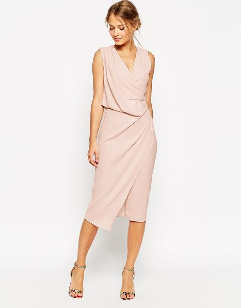 Asos Wedding wrap drape midi dress in pink - Dress by ASOS Collection, Lightweight fabric,...