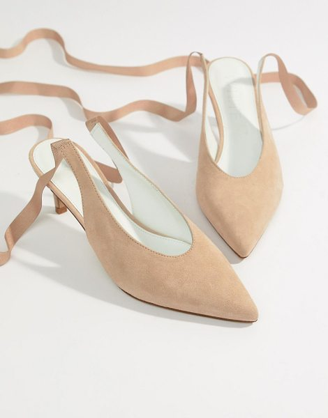 Asos White foxglove suede kitten heels in beige - Shoes by ASOS WHITE, Pointed toe, Grosgrain ankle-tie...