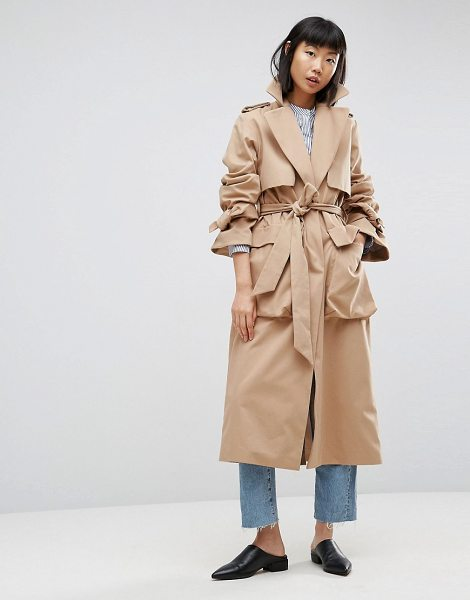 "Asos White ASOS WHITE Molded Pocket Trench in cream - """"Trench by ASOS WHITE, Smooth woven fabric, Notch..."