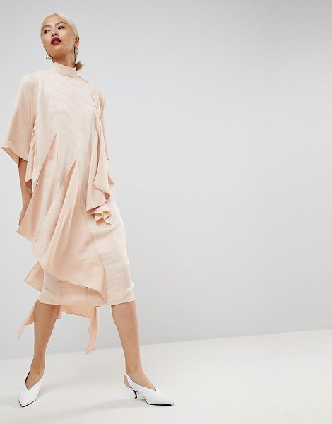 Asos White square panel soft midi dress in nude - Dress by ASOS WHITE, High neck, Wide sleeves, Ruffle...