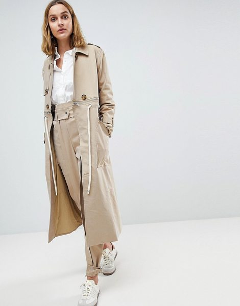 Asos White trench coat two-piece with rope detail in stone - Coat by ASOS WHITE, Co-ord style, For a matchy-matchy...