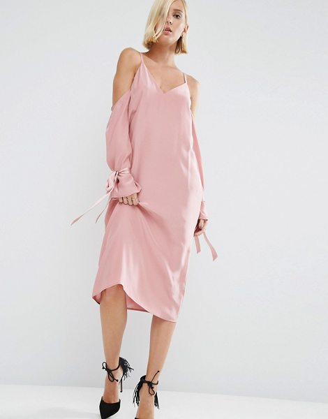 Asos White ASOS WHITE 100% Silk Cami Dress With Sleeve Detail in pink