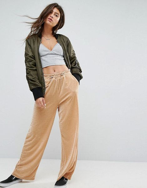 ASOS DESIGN asos wide leg velvet joggers with elastic cord in cream - Pants by ASOS Collection, Soft-touch velvet, High-rise,...