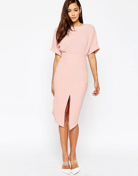 Asos Wiggle Dress with Split Front in pink - Midi dress by ASOS Collection, Lightweight crepe, Boat...