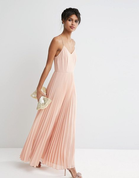 ASOS Woven Cami Maxi Dress With Pleated Skirt - Maxi dress by ASOS Collection, Lined chiffon fabric,...