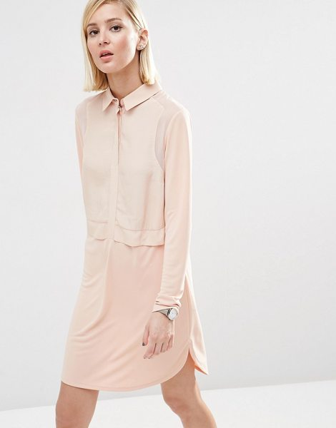 Asos Woven Mix Shirt Dress in pink - Dress by ASOS Collection, Lightweight fabric, Point...