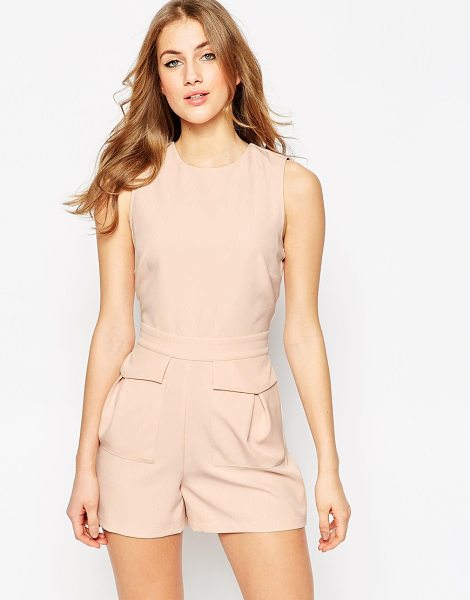 ASOS Woven Occasion Romper with Patch Pockets in pink - Romper by ASOS Collection, Stretch woven fabric, Crew...