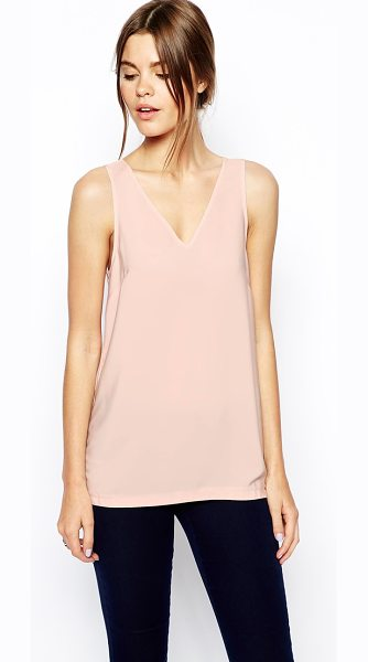 Asos Woven v-neck tank top in blush - Tank by ASOS Collection Made from a woven poly fabric...