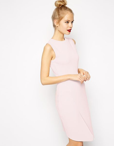 Asos Wrap dress in structured knit with cut out detail in pale pink - Dress by ASOS Collection Heavy-weight, structured,...