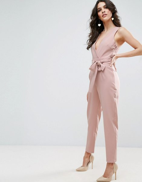 "Asos Wrap Front Jumpsuit with Twist Back and Self Tie in pink - """"Jumpsuit by ASOS Collection, Stretch woven fabric,..."