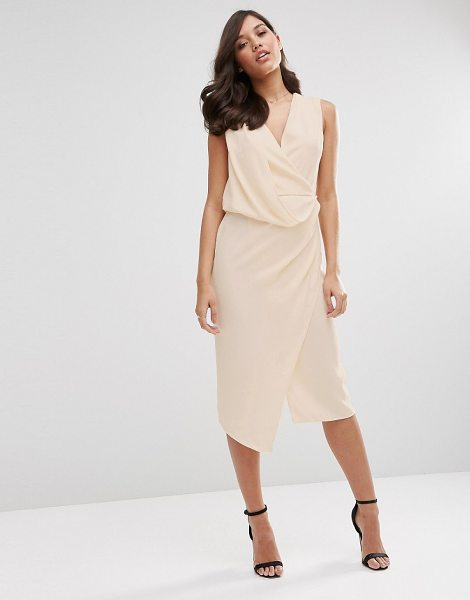 Asos Wrap Front Midi Pencil Dress in pink - Pencil dress by ASOS Collection, Lined crepe, Draped...