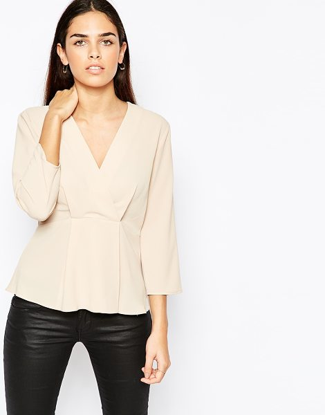 Asos Wrap Front Minimal Blouse in Crepe in pink - Blouse by ASOS Collection, Lightweight crepe, Unlined...