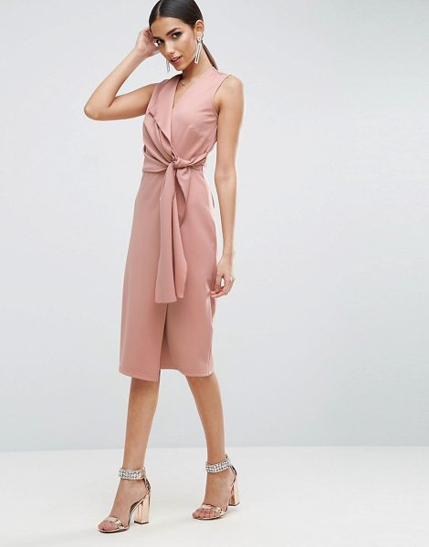 "Asos Wrap Front Midi Pencil Dress with Tie Detail in pink - """"Pencil dress by ASOS Collection, Stretch knitted..."